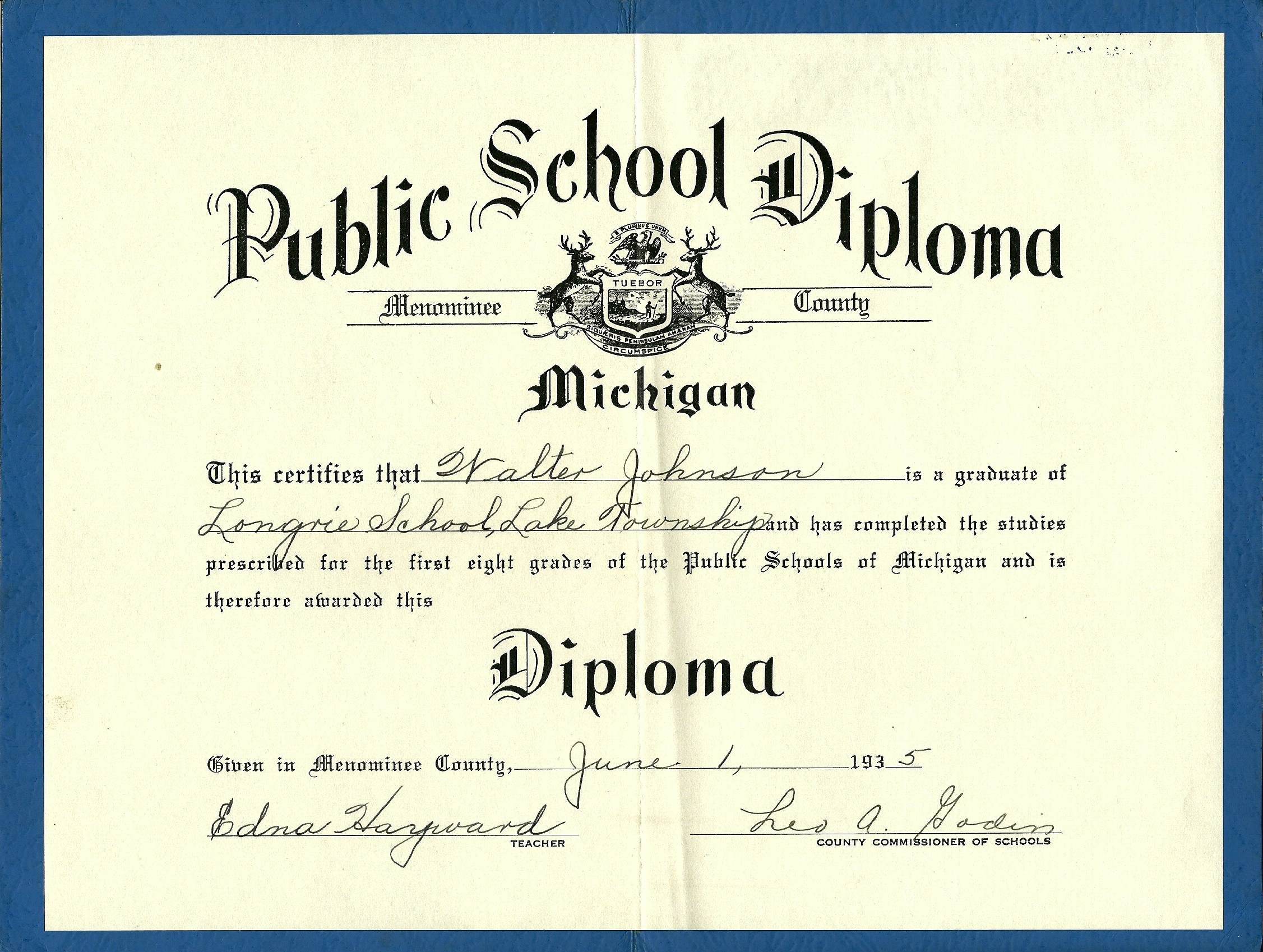 Longrie one room schoolhouse menominee county michigan for 6th grade graduation certificate template